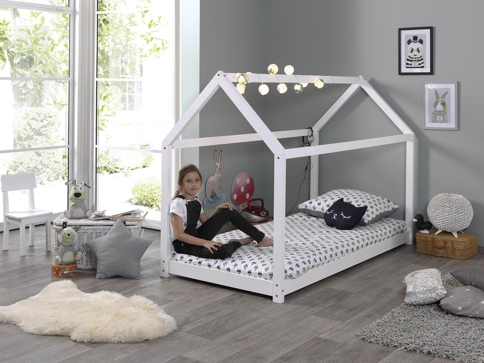 lit cabane home 90x200 blanc