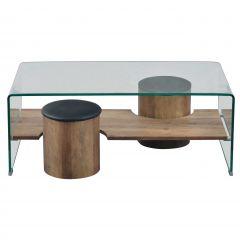 table basse bent avec 6 poufs verre