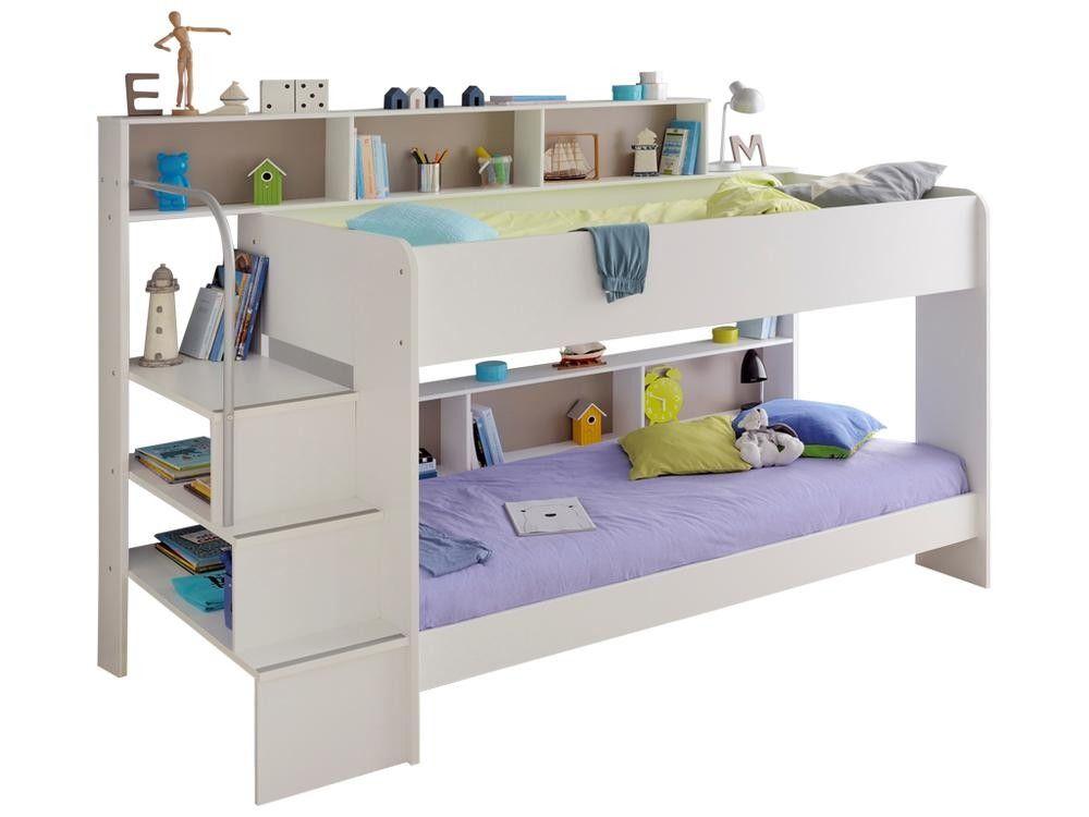 lit superpose bibop avec rangements blanc