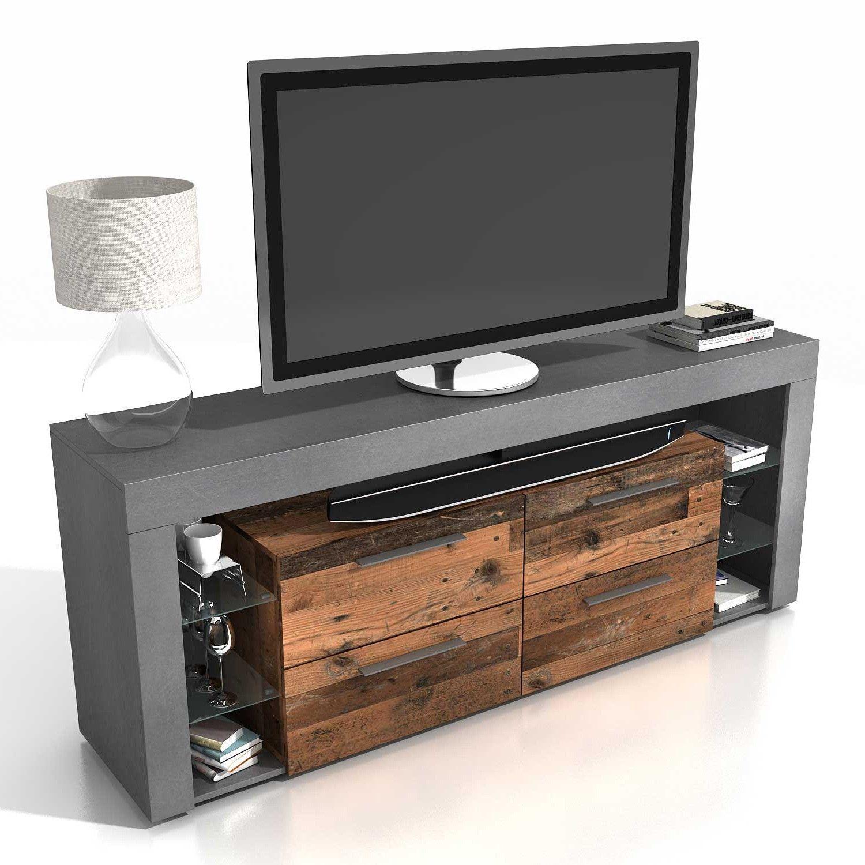 meuble tv vidi 180 cm fonce bois vieilli