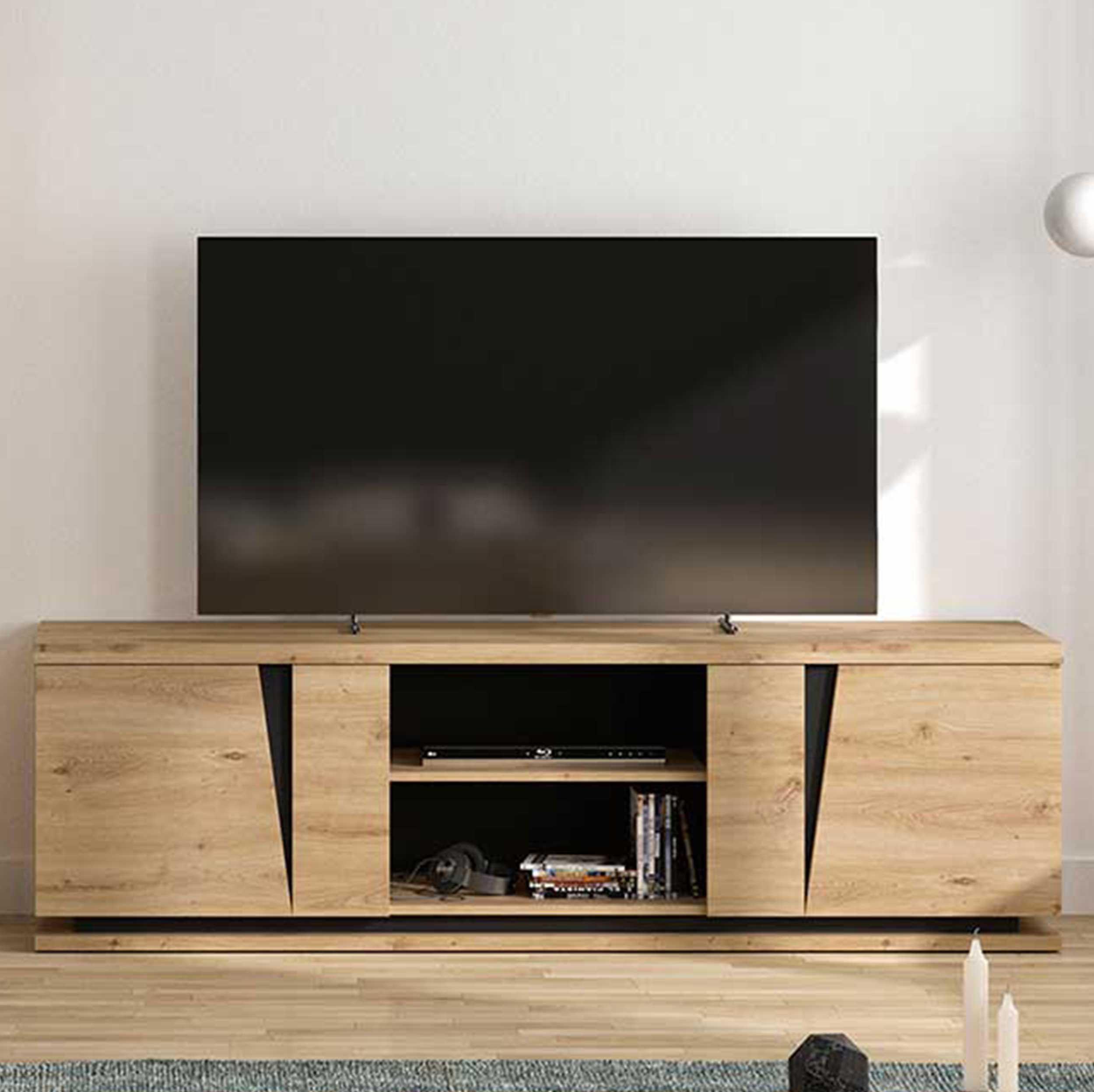 meuble tv split 180cm 2 portes chene artisan