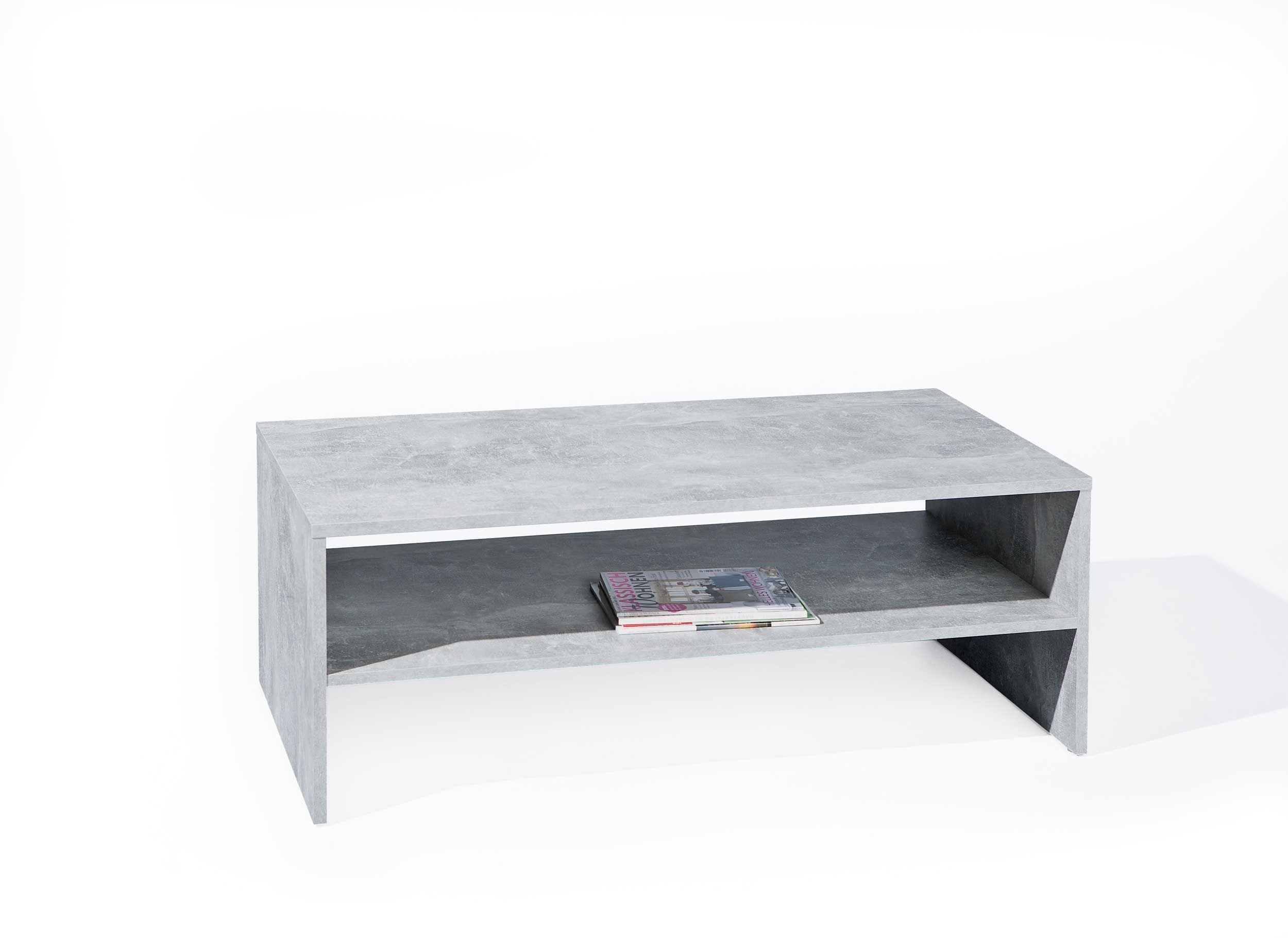 table basse beton 115x60 industriel gris