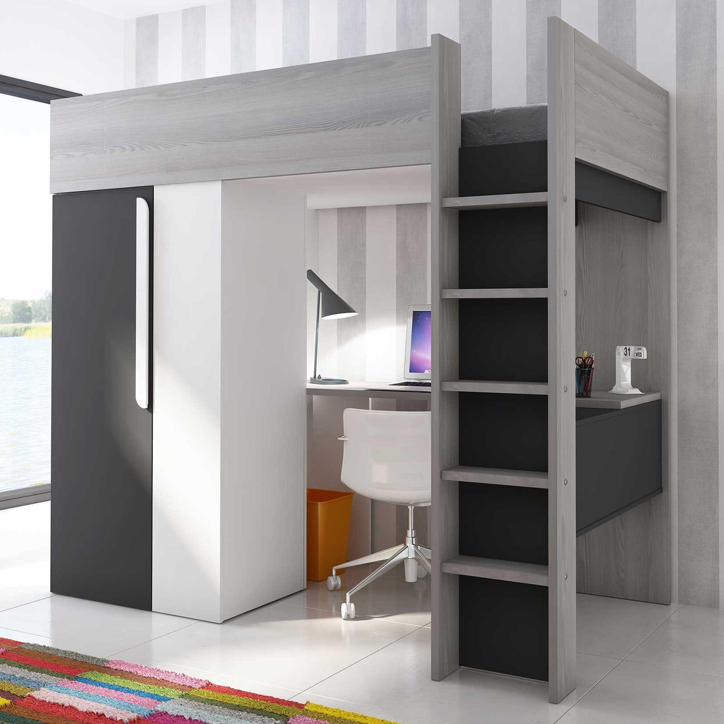 lit mezzanine beau avec bureau et armoire graphite