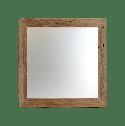 miroir mural rustic 100x100 cm bois flotte teck