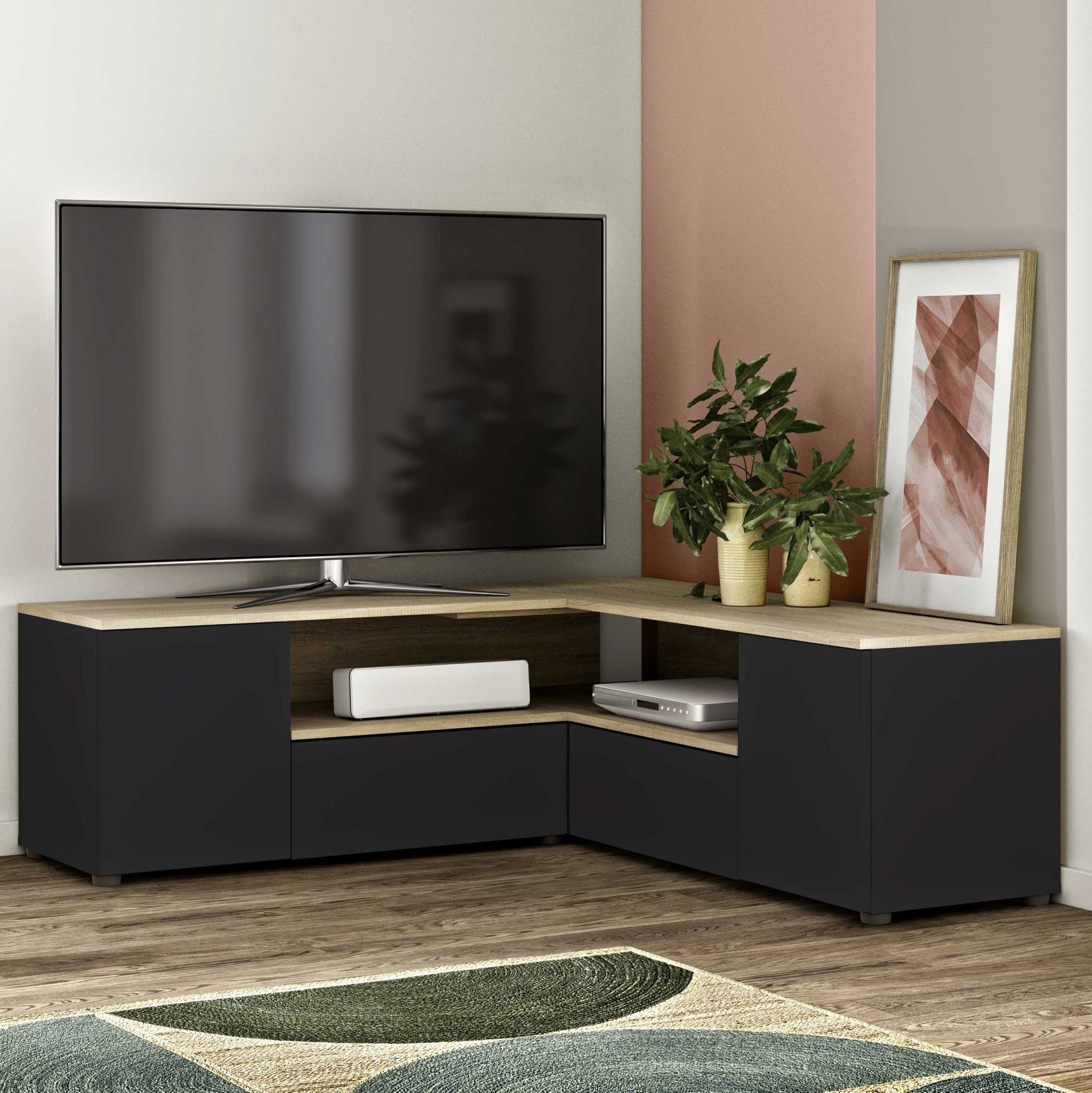 meuble tv cleo 130cm noir chene
