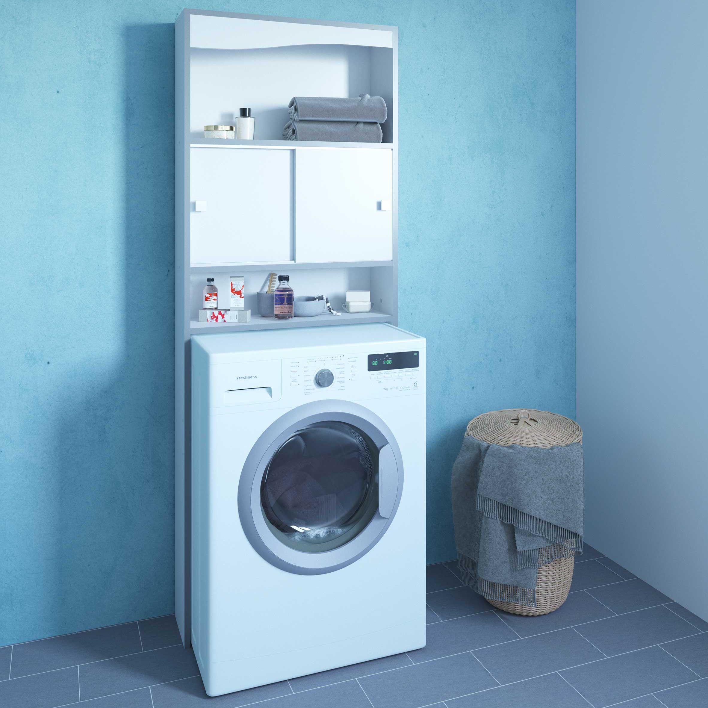 meuble pour machine a laver surf blanc taupe