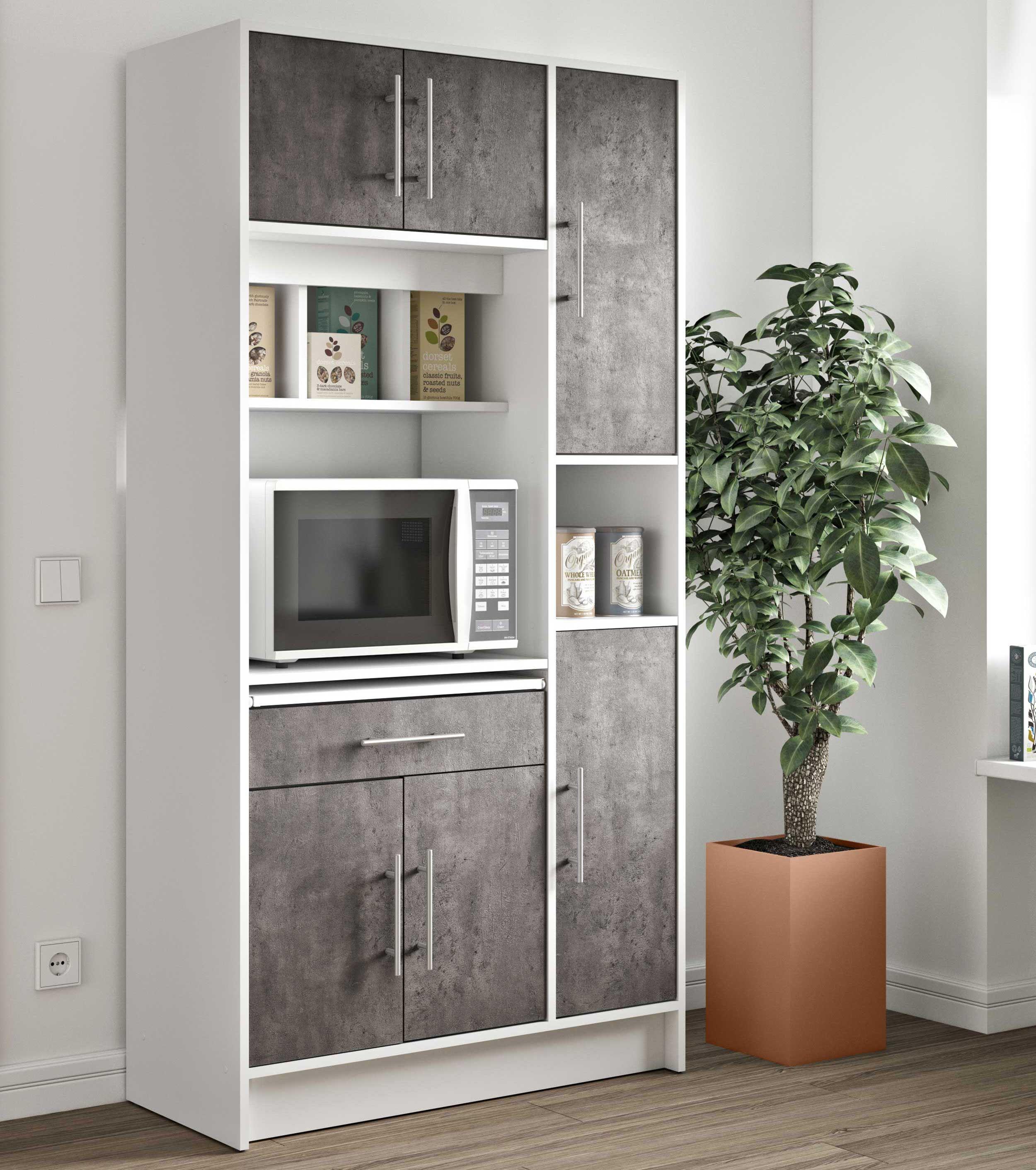 armoire de cuisine louise pour four a micro ondes blanc beton