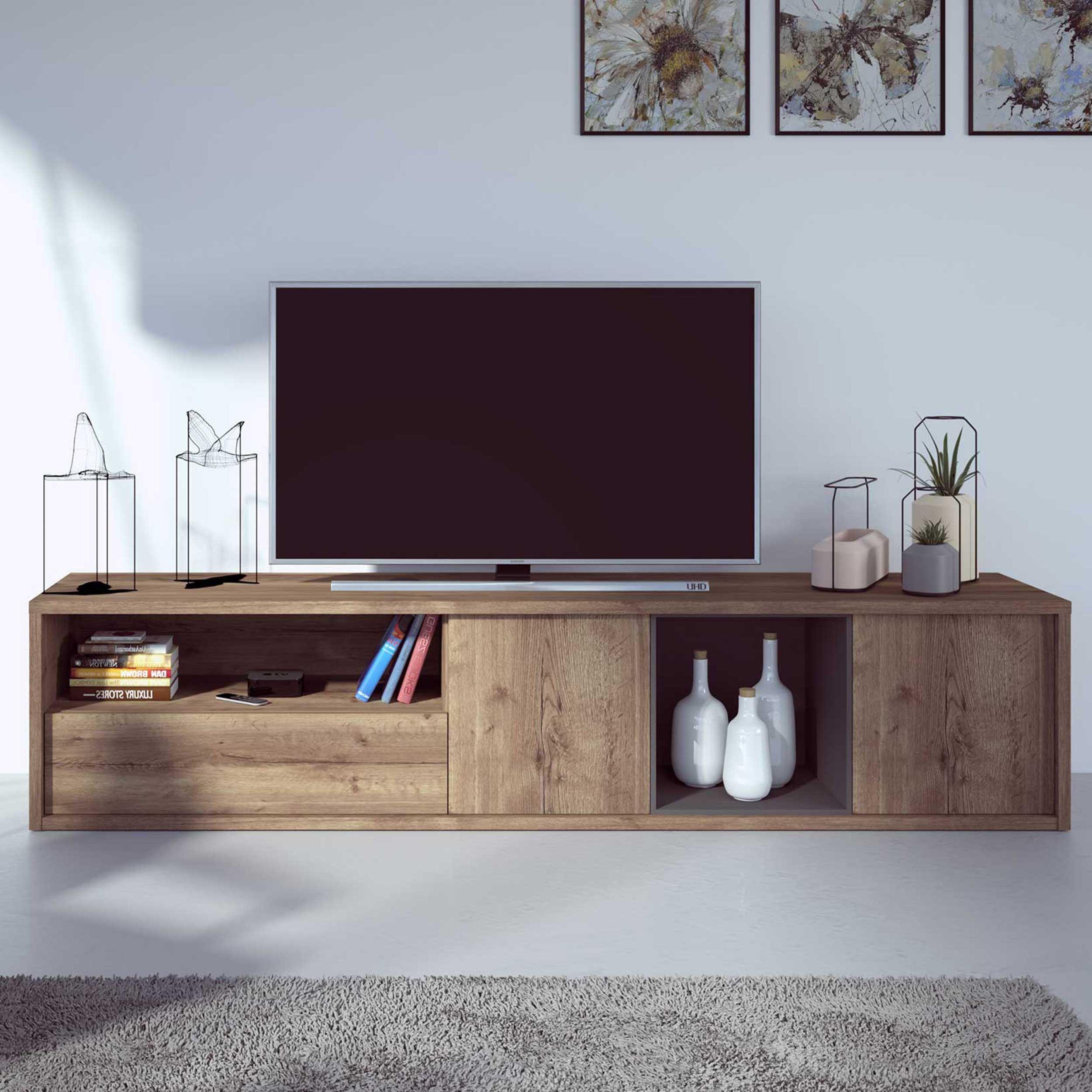 meuble tv frame 217cm chene fonce