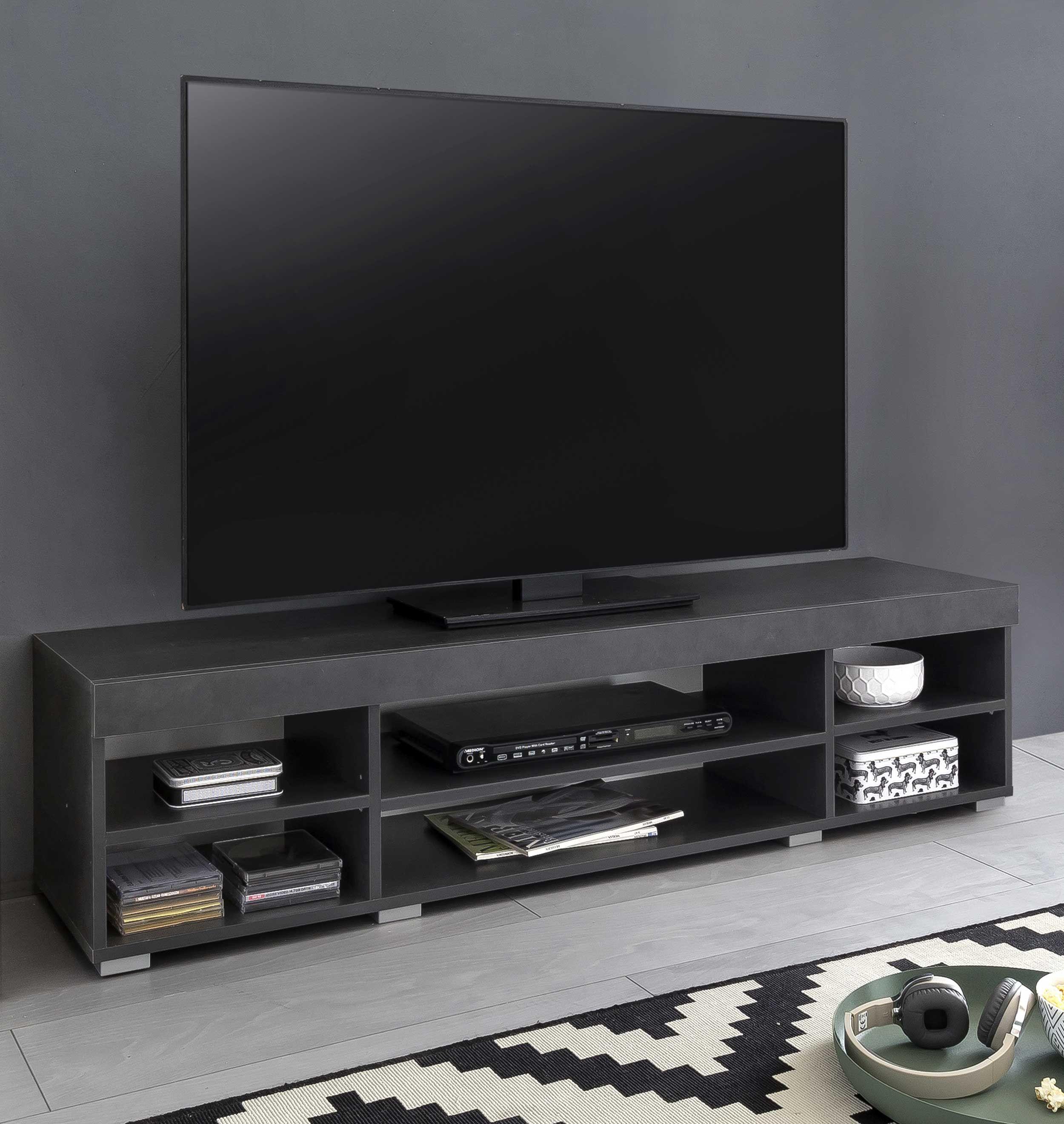 meuble tv flint 140cm blanc gris graphite