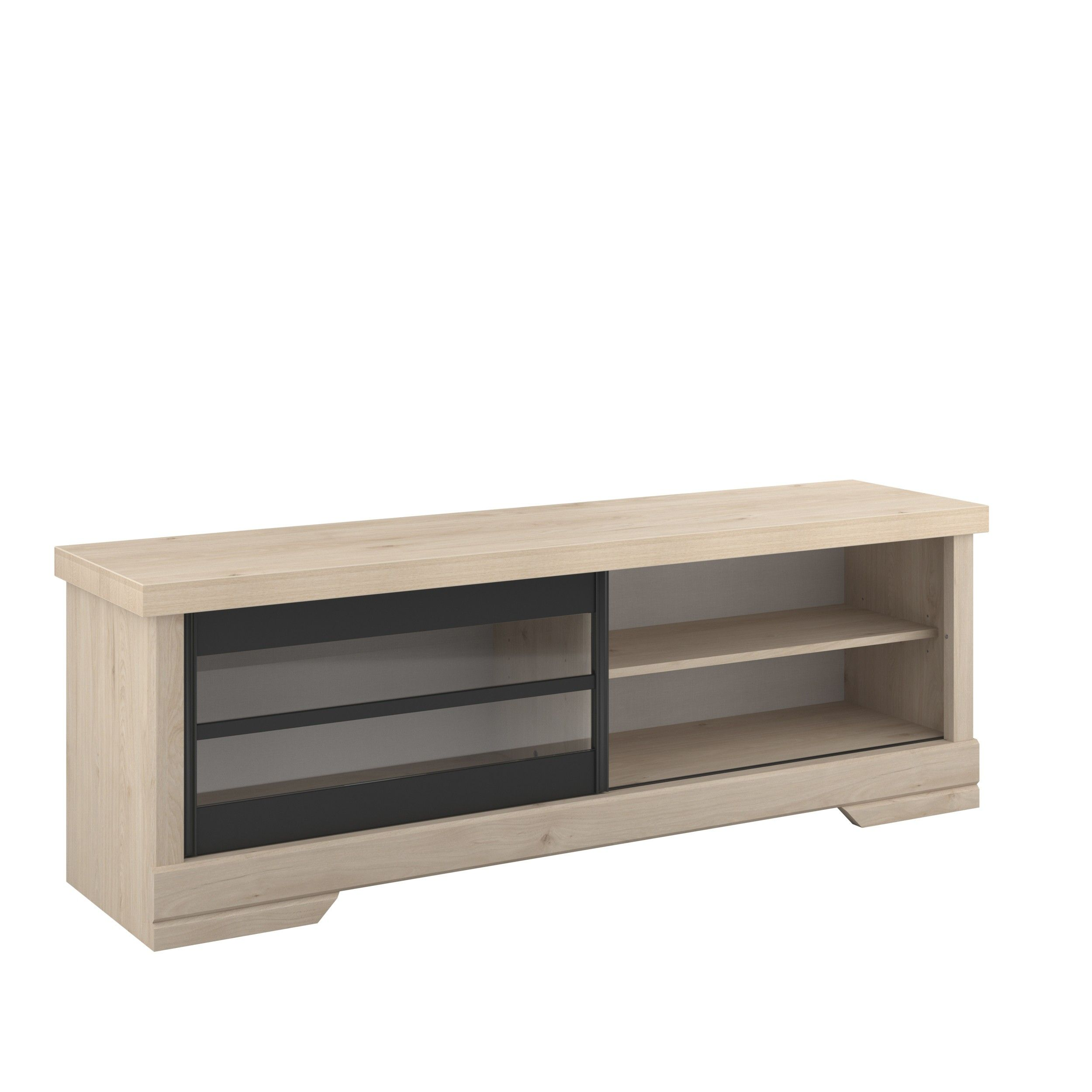 meuble tv vanessa 158cm avec porte coulissante chene