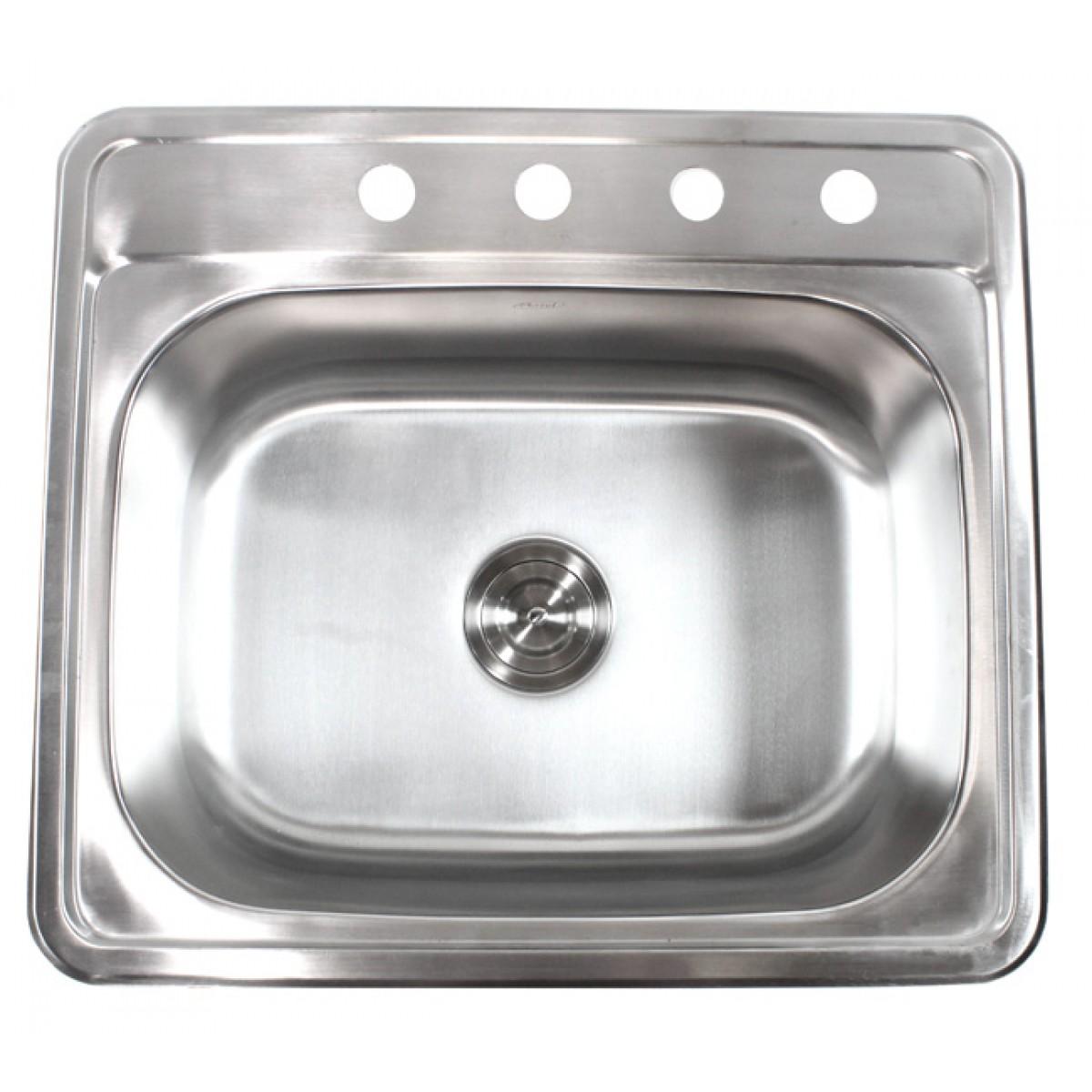 25 inch top mount drop in stainless steel kitchen island bar sink 18 gauge
