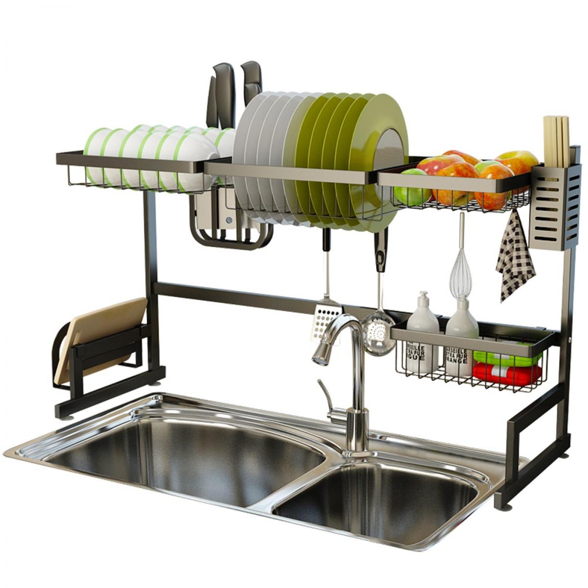 stainless steel black dish drying rack