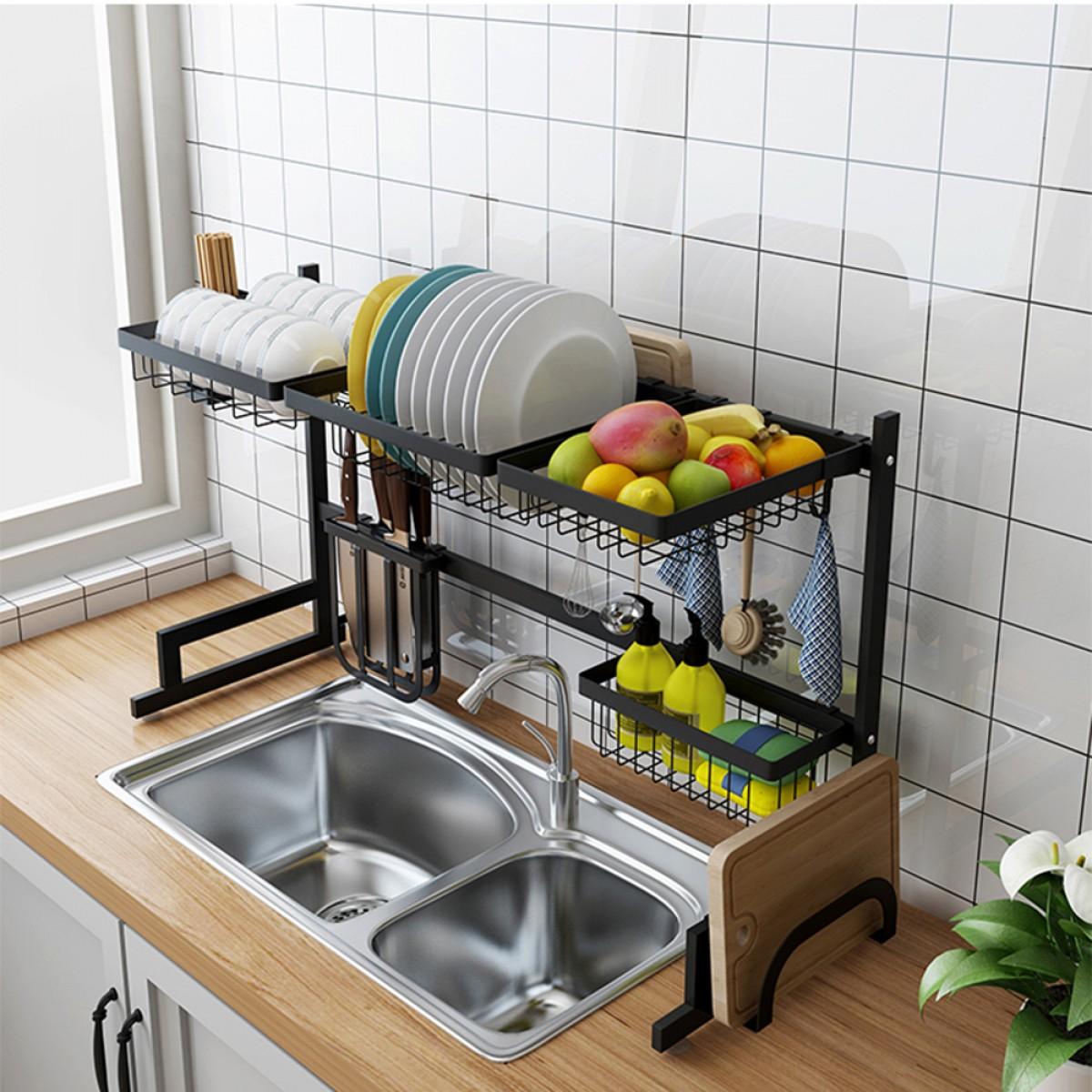 34 6 stainless steel black dish drying rack over kitchen sink dishes and utensils draining shelf kitchen storage countertop organizer utensils