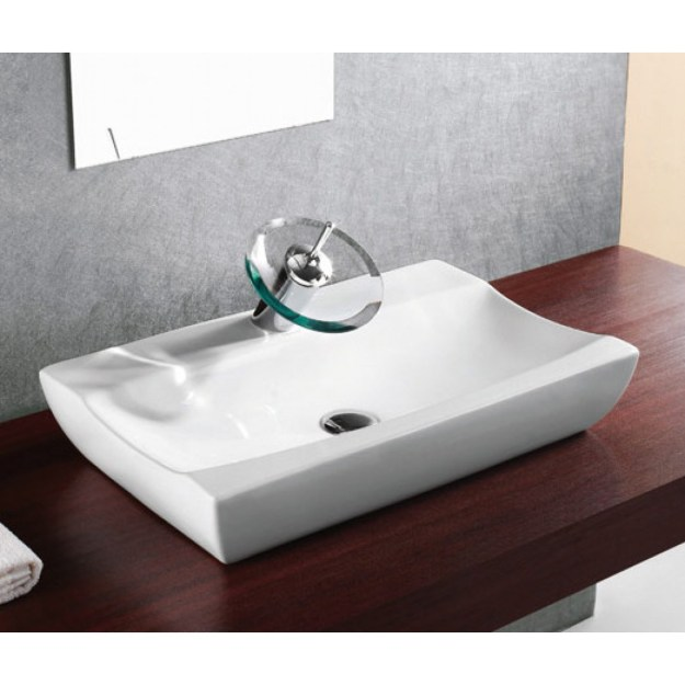 porcelain ceramic single hole countertop bathroom vessel sink - 25 x