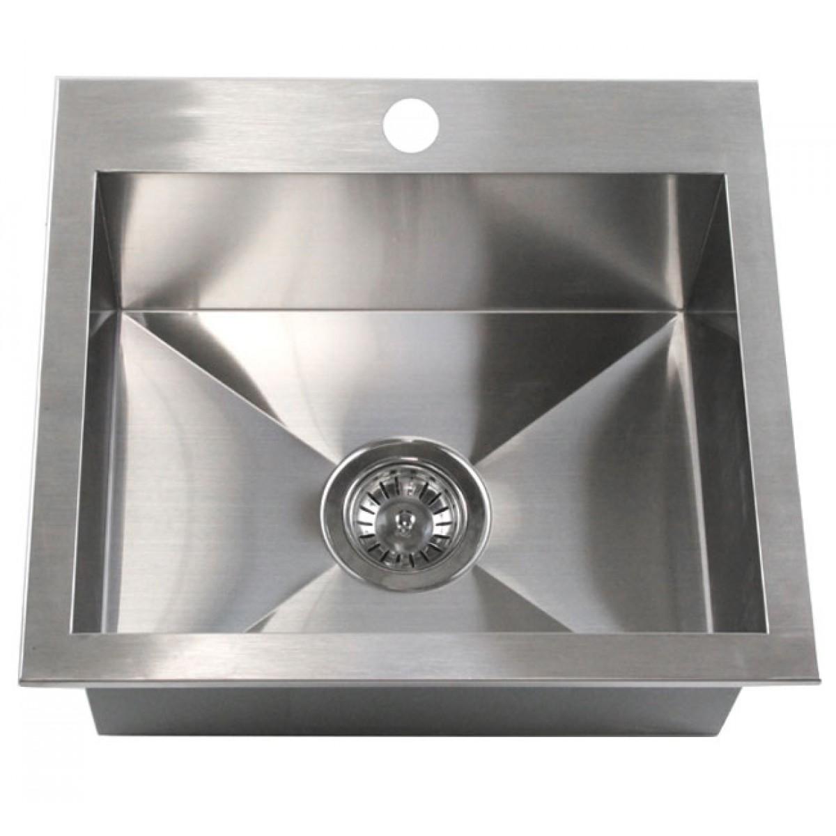 19 inch top mount drop in stainless steel single bowl kitchen island bar sink zero radius design