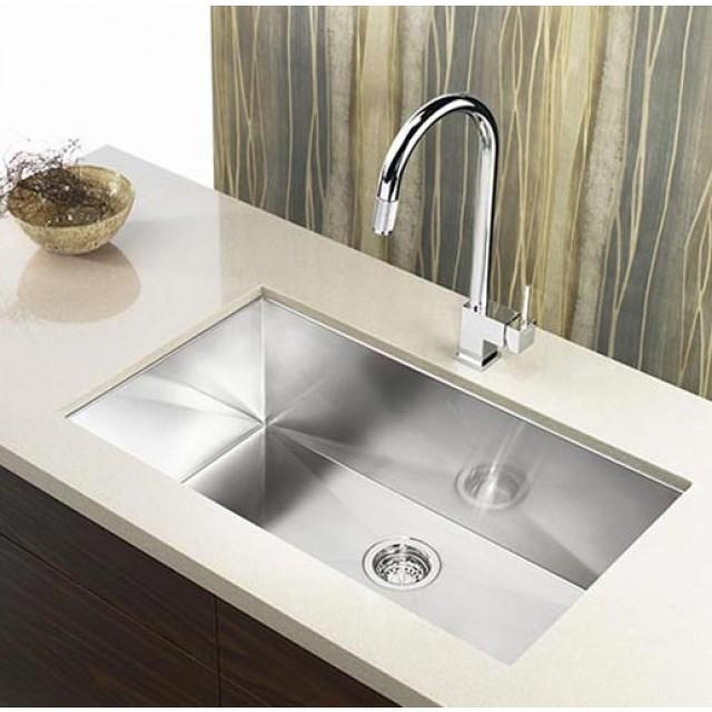 32 inch stainless steel undermount single bowl kitchen sink zero radius design