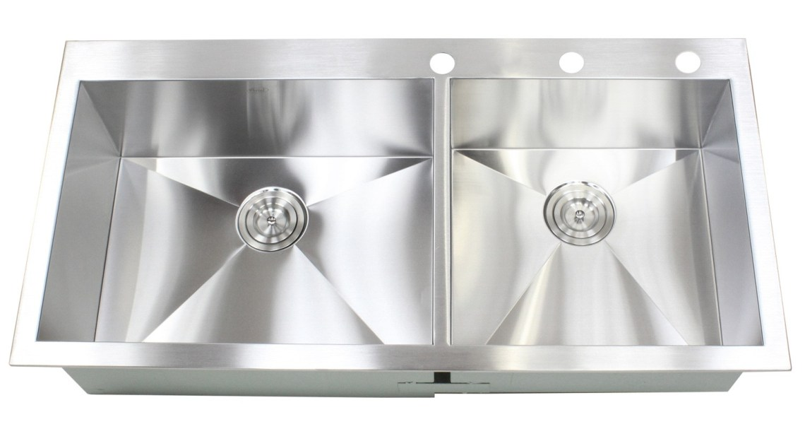 43 Inch Top-Mount / Drop-In Stainless Steel Double Bowl ...
