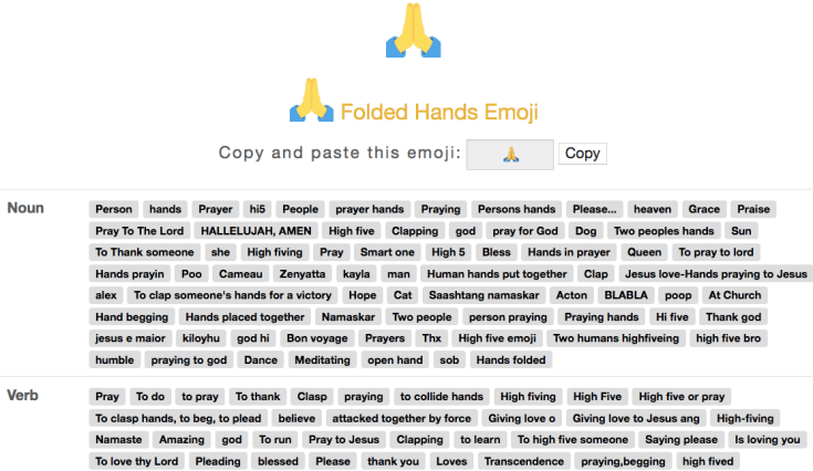 "Screenshot ofPortion of Emoji Dictionary result for ""folded hands"" emoji"