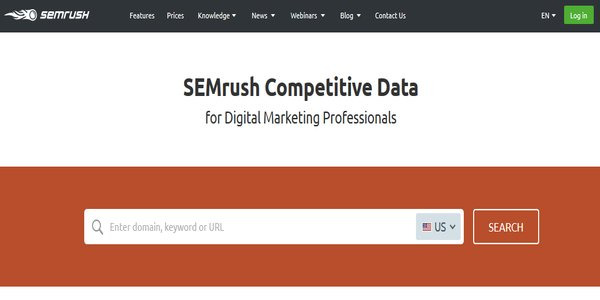 SEmrush Keyword Research Tool - Search Bar
