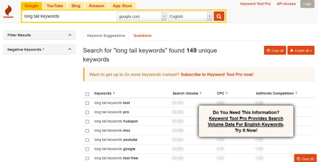 Long Tail Keywords for SEO