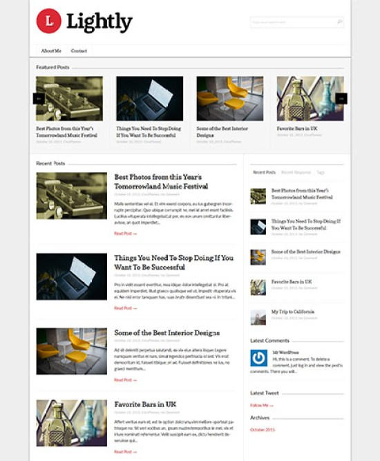 Lightly is also a popular responsive wordpress theme from FancyThemes