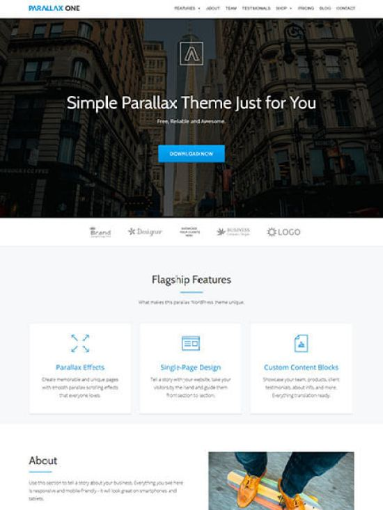 Parallax One is one ultra-modern, responsive wordpress theme release by ThemeIsle
