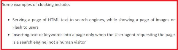 example of cloaking in SEO to rank your page higher