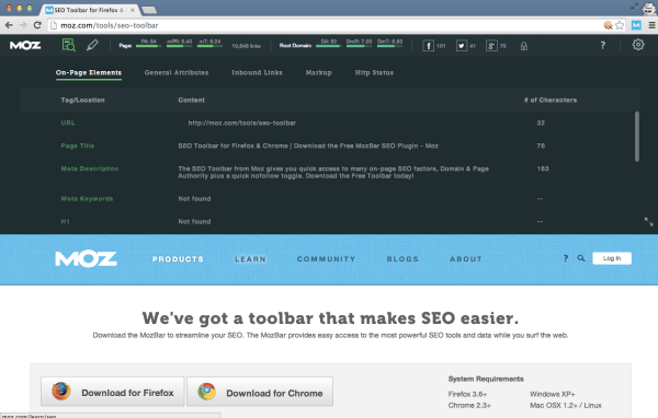 install MozBar for on-page SEO insights