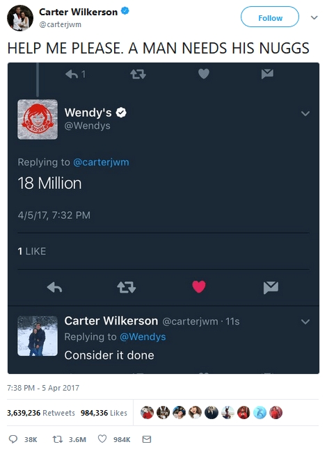Carter Wilkerson on Twitter tweet has a little over 3.6 million RTs