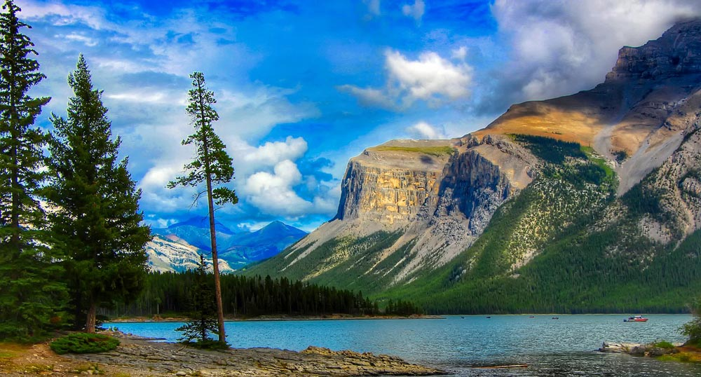 The forests, mountains and waters of Banff Alberta.