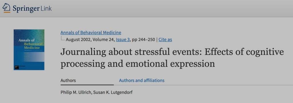 Journaling about stressful events: effects of cognitive processing and emotional expression