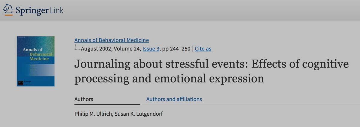 Journaling about stressful events: Effects of cognitive processing and emotional expression | SpringerLink