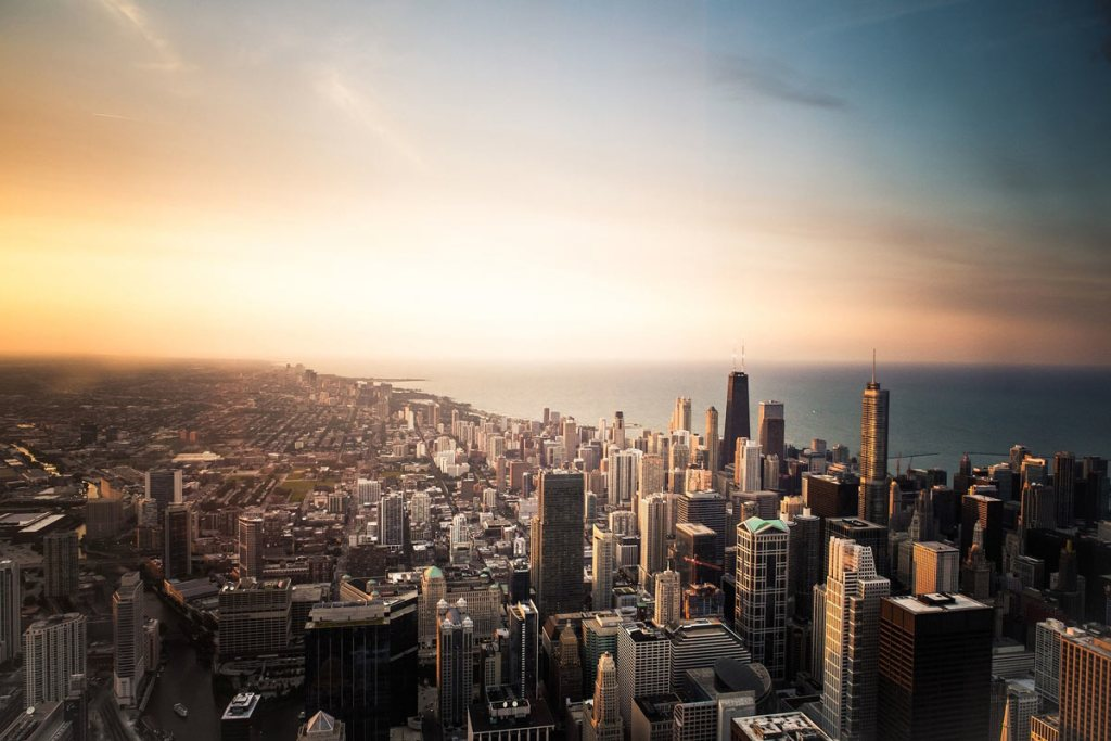 Chicago skyline as seen from the air.