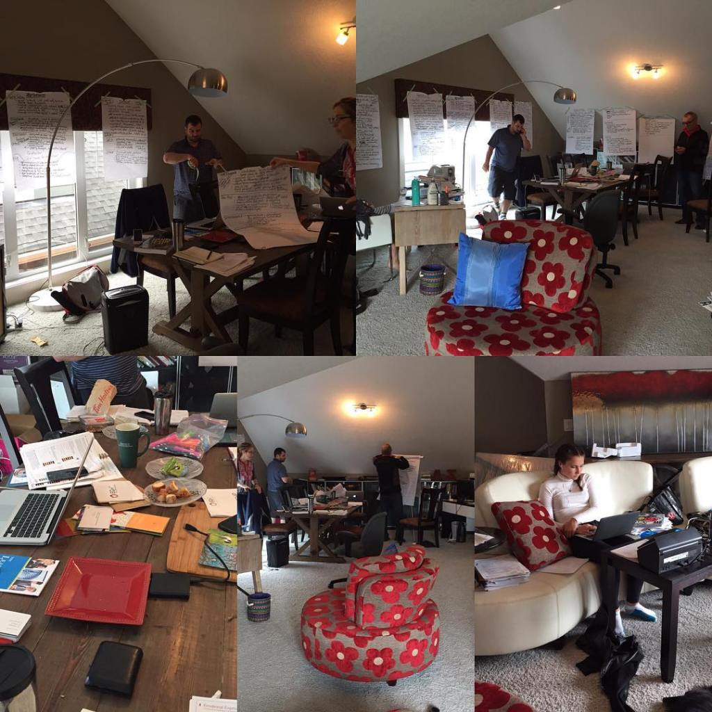 Two images on the top, and three on the bottom. All are different angles that show the same three people working in the same room. The bottom right shows a woman sitting working on a laptop on the couch. The middle left is shows three people working with flip chart paper. The bottom left shows a desk cluttered with paper and electronics. The top images both show two people working with flip chart paper at the far end of the room. The room has a brown walls and a white slanted ceiling.