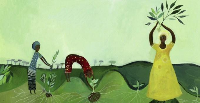 Illustration of awoman planting trees.