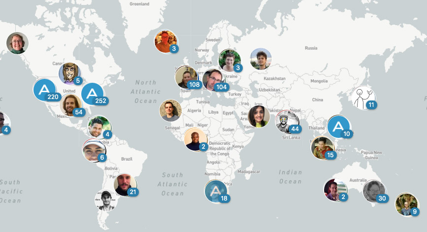 Map of all the people working across WordPress dot com.