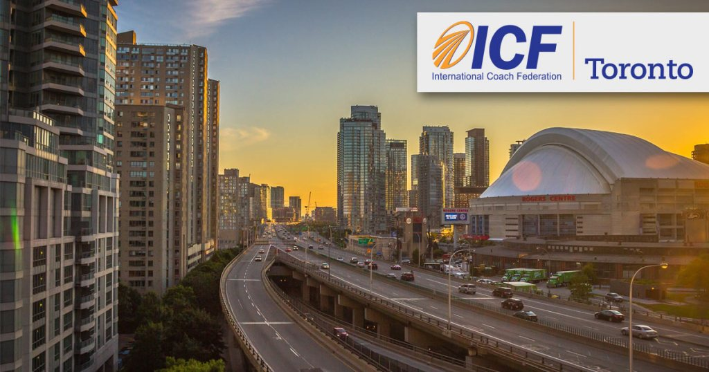 ICF Toronto Chapter, in Toronto Ontario, during a sunset over the Rogers building.