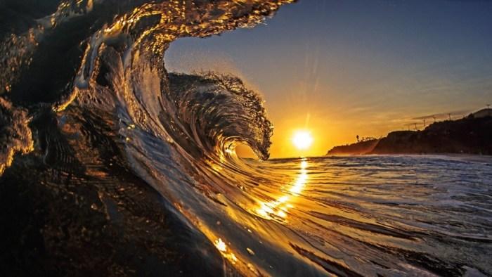 Sunset Surf Hawaiian Ocean Breaker Curl Polynesia Sun Evening Island Islands Sea Pacific Set Hawaii Sand Wave Dusk Beach Wallpaper High Resolution