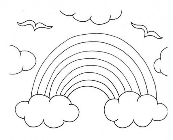 A-Kids-Drawing-of-Rainbow-Over-the-Clouds-Coloring-Page