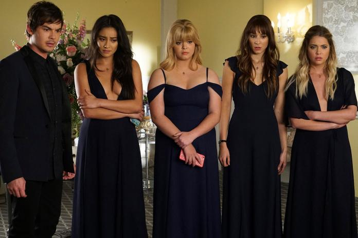 """PRETTY LITTLE LIARS - """"Till Death Do Us  Part"""" - Seven seasons of secrets come tumbling out in the two-hour series finale of Freeform's hit original series """"Pretty Little Liars,"""" airing TUESDAY, JUNE 27 (8:00 - 10:01 p.m. EDT). Immediately following the finale, stars Troian Bellisario, Ashley Benson, Lucy Hale, Shay Mitchell and Sasha Pieterse, as well as executive producer I. Marlene King, will sit down for an hour-long unbarred and uncensored tell-all after-show to discuss all of the series' tightly held secrets, behind-the-scenes insights, and top moments. Fans can catch up on all of the drama with an all-day marathon of season seven starting at 11:00 a.m. EDT and running up to the two-hour series finale at 8:00 p.m. EDT. (Freeform/Eric McCandless) TYLER BLACKBURN, SHAY MITCHELL, SASHA PIETERSE, TROIAN BELLISARIO, ASHLEY BENSON"""