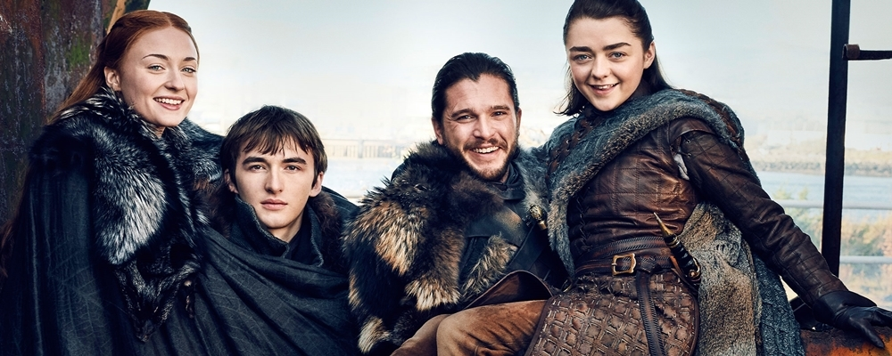 Game of Thrones (Season 7) L-R: Sophie Turner, Isaac Hempstead Wright, Kit Harrington, and Maisie Williams Photograph by Marc Hom on November 22, 2016 in Belfast.