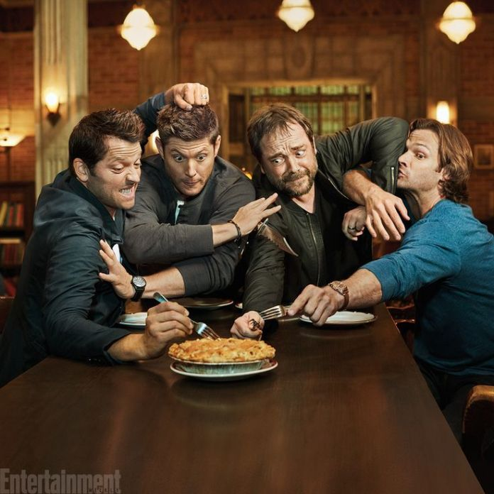 SUPERNATURAL Misha Collins,ÊJensen Ackles,ÊMark Sheppard and Jared Padalecki photographed on the Supernatural set in Vancouver, Canada on August 23, 2016 Photograph by Matthias Clamer Hair:ÊJennifer Manton; Makeup:ÊTrisha Porter;ÊWardrobe:ÊKerry Weinrauch;ÊProps: Karolina Grant;ÊProduction:ÊSusan Milne