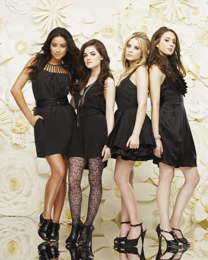 """PRETTY LITTLE LIARS - ABC Family's """"Pretty Little Liars"""" stars Shay Mitchell as Emily Fields, Lucy Hale as Aria Montgomery, Ashley Benson as Hanna Marin and Troian Bellsario as Spencer Hastings. (Photo by Andrew Eccles/ ABC via Getty Images)"""