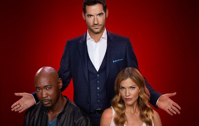 LUCIFER: Pictured L-R: DB Woodside, Tom Ellis and Tricia Helfer on LUCIFER. The season 2 premiere episode of Lucifer airs Tuesday, September 19th (9:00-10:00 PM ET/PT) on FOX. ©2016 Fox Broadcasting Co. Cr: Brendan Meadows/FOX