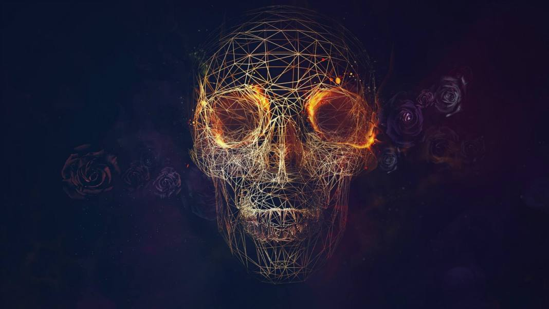 3-d-geodesic-skull-wallpaper