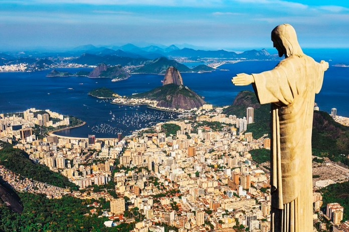 Brazil, Rio de Janeiro, Rio de Janeiro, Corcovado, Christ the Redeemer, Atlantic ocean, Cityscape with Christ the Redeemer, Sugarloaf Mountain in the background
