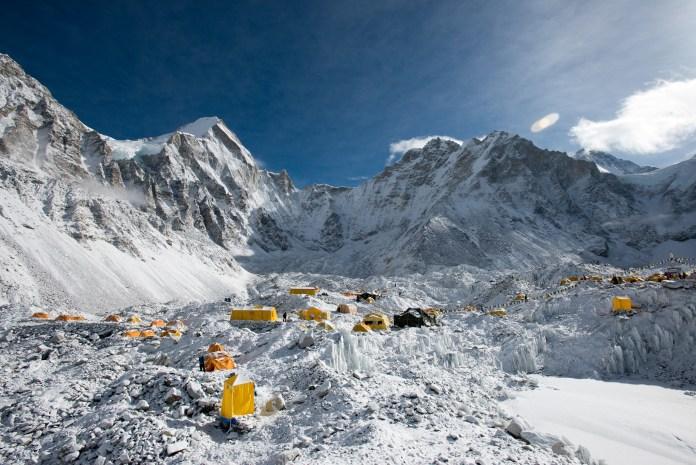 Everest base camp at the end of the Khumbu glacier lies at 5300m