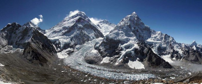 Panoramic-view-of-Everest,-Lhotse-from-Pumori-ABC