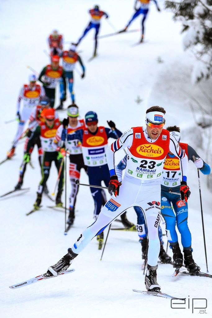 Sportfotografie Nordische Kombination Langlaufen Magnus Hovdal Moan Ramsau - emotioninpictures / Mario Bühner