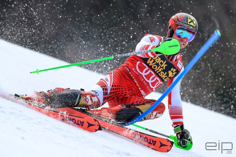 Sportfotografie Slalom Ski Weltcup Marcel Hirscher Kranjska Gora - emotioninpictures / Mario Bühner